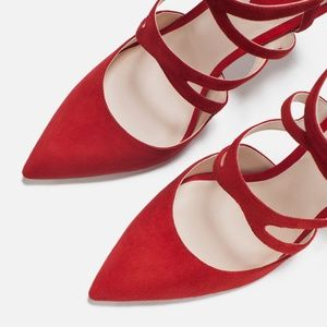 [Zara] Red Crossover Leather High Heel Pumps